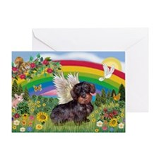 Rainbow & Wire Haired Dachshund Greeting Card