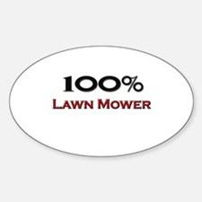 100 Percent Lawn Mower Oval Decal
