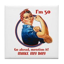 Rosie Riveter 50th Birthday Tile Coaster