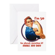 Rosie Riveter 50th Birthday Greeting Cards 10PK
