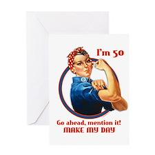 Rosie Riveter 50th Birthday Greeting Card