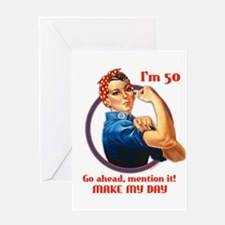 Rosie Riveter 50th Birthday Greeting Card