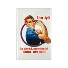 Rosie Riveter 40th Birthday Rectangle Magnet