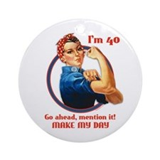 Rosie Riveter 40th Birthday Ornament (Round)