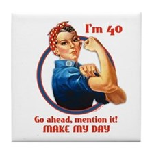 Rosie Riveter 40th Birthday Tile Coaster