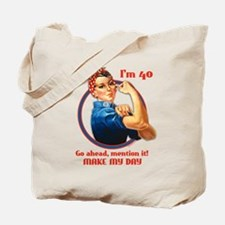 Rosie Riveter 40th Birthday Tote Bag