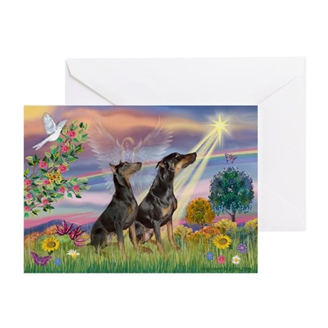 Cloud Angel & Dobie Pair Greeting Cards (Package o