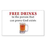 Free Drinks Rectangle Sticker 50 pk)