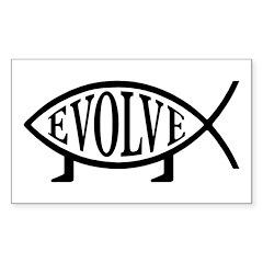 Evolution Fish Rectangle Sticker 50 pk)
