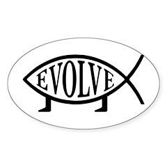 Evolution Fish Oval Sticker (50 pk)