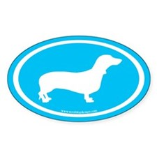 Dachshund Oval (white on blue) Oval Decal