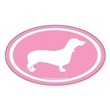 Dachshund Oval (white on pink) Oval Decal