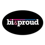 Bi&proud Black Oval Sticker (50 pk)
