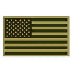 Olive American Flag Rectangle Sticker 50 pk)