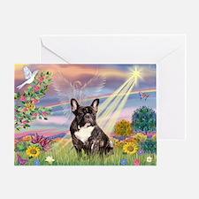 Cloud Angel / Fr Bulldog (brin) Greeting Card