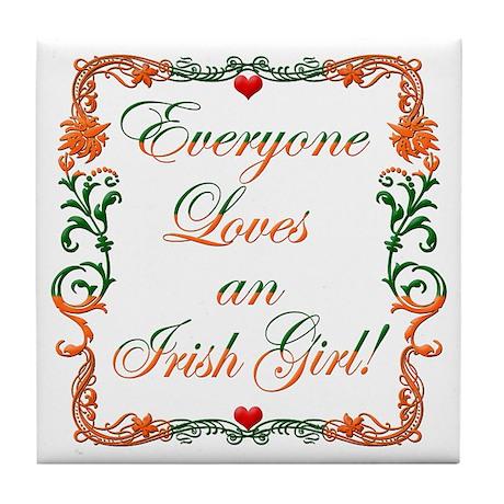 Loves Irish Girl Tile Coaster