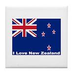 I Love New Zealand Tile Coaster