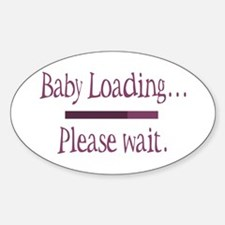 Pink Baby Loading Please Wait Oval Decal