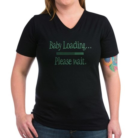 Green Baby Loading Please Wait Women's V-Neck Dark