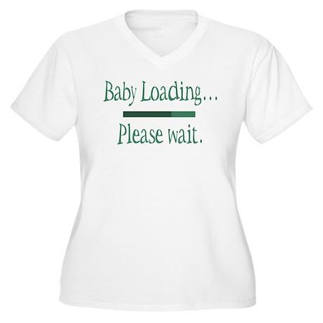Green Baby Loading Please Wait Women's Plus Size V