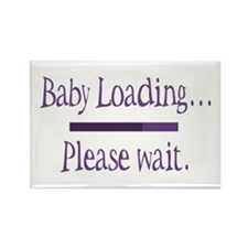 Purple Baby Loading Please Wait Rectangle Magnet