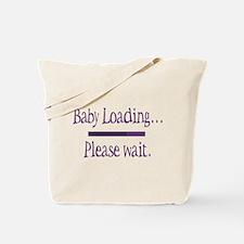 Purple Baby Loading Please Wait Tote Bag