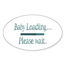 Blue Baby Loading Please Wait Oval Decal