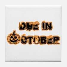 Orange Pumpkin Due October Tile Coaster