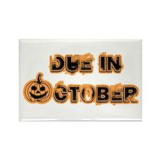 Orange Pumpkin Due October Rectangle Magnet