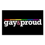 Gay&proud Black Rectangle Sticker 50 pk)
