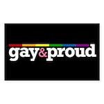 Gay&proud Black Rectangle Sticker 10 pk)