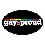 Gay&proud Black Oval Sticker (50 pk)