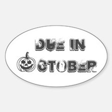 BW Jack O Lantern Due October Oval Decal
