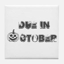 BW Jack O Lantern Due October Tile Coaster