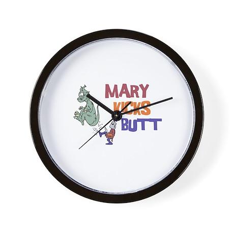 Mary Kicks Butt Wall Clock