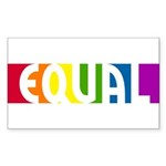 Equal Rainbow Rectangle Sticker 10 pk)