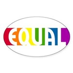 Equal Rainbow Oval Sticker (10 pk)