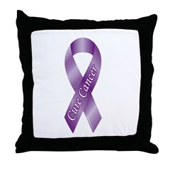 Cure Cancer Purple Ribbon Throw Pillow