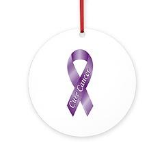 Cure Cancer Purple Ribbon Ornament (Round)