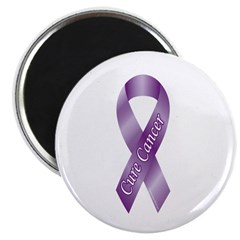 """Cure Cancer Purple Ribbon 2.25"""" Magnet (100 pack)"""