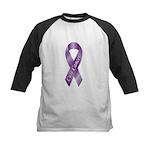 Cure Cancer Purple Ribbon Kids Baseball Jersey