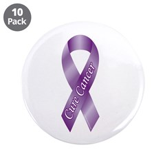"""Cure Cancer Purple Ribbon 3.5"""" Button (10 pack)"""