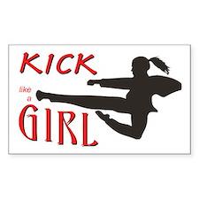 Girl Kickin' Rectangle Decal