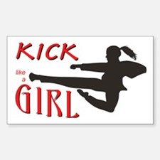 Girl Kickin' Rectangle Decal