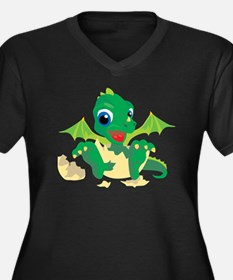 Baby Dragon Women's Plus Size V-Neck Dark T-Shirt