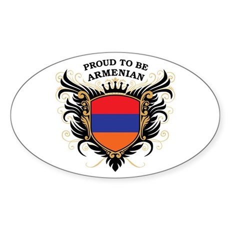 Proud to be Armenian Oval Sticker