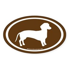 dachshund dog (white on brown) Oval Decal