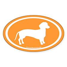 dachshund dog (white on orange) Oval Decal
