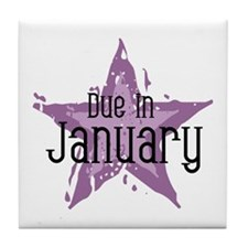 Purple Star Due In January Tile Coaster