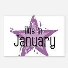 Purple Star Due In January Postcards (Package of 8